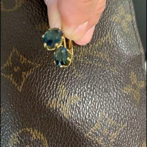 Grandmas blue earrings with gold tone 🌹😍